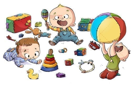 Babies playing with a rattle and a ball