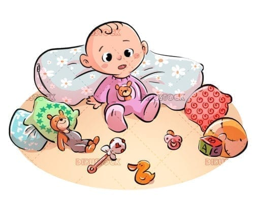 Baby playing with stuffed animals
