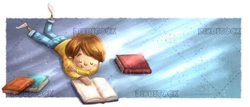 Boy lying reading books