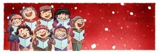 Children singing in chorus at Christmas copia