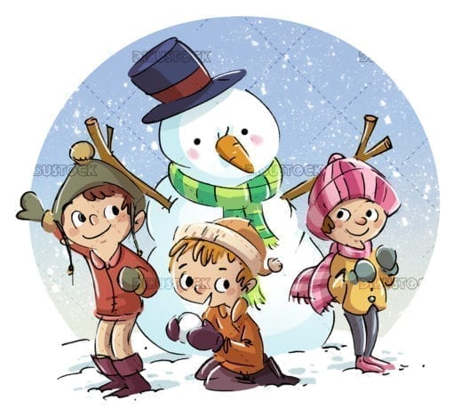 Children with snowman with childrens