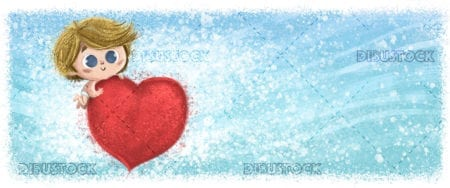 Cupid child with hearts with blue background