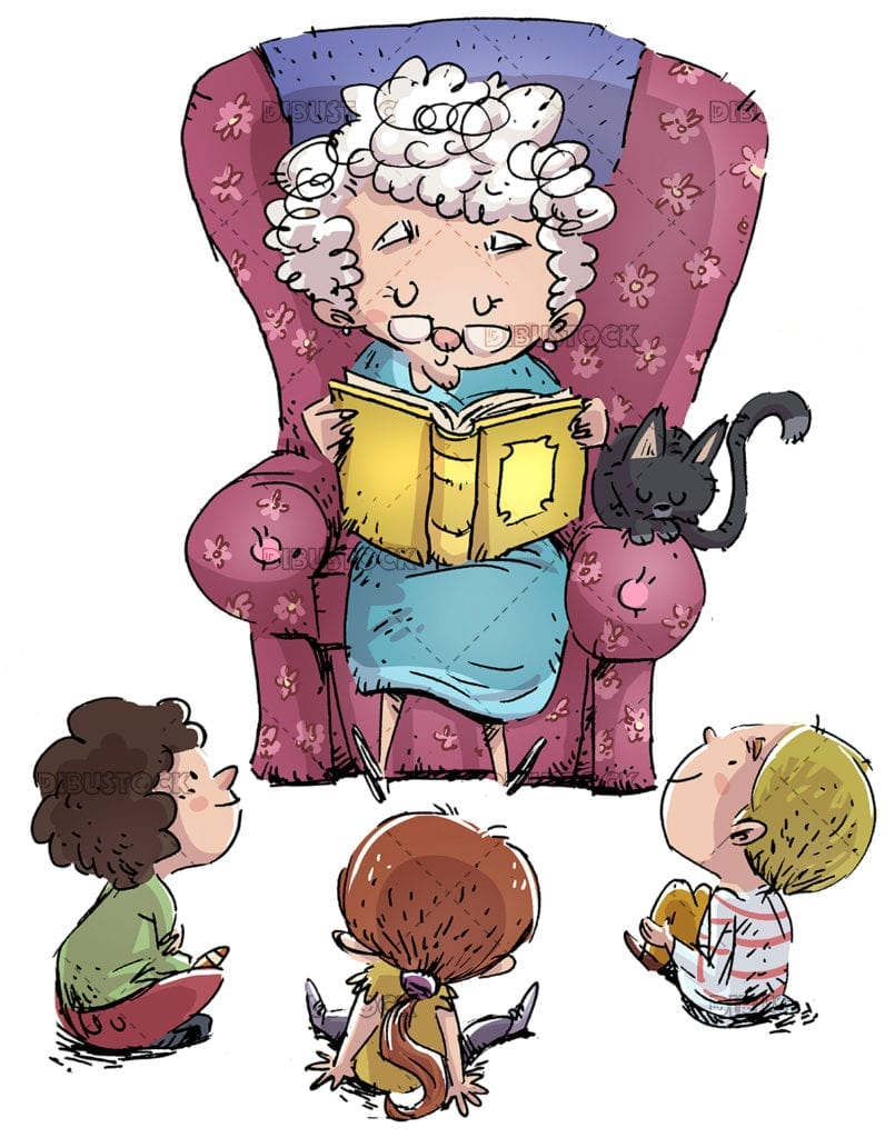 Elderly woman reading a book to children with white background