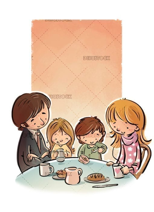Family eating or having breakfast