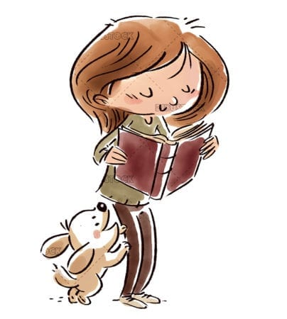 Girl with dog reading a book