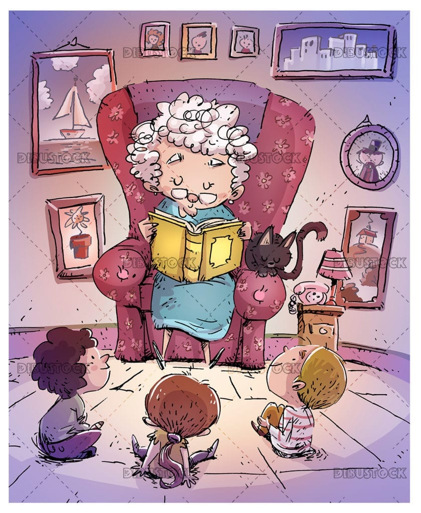 Grandmother reading a book to children