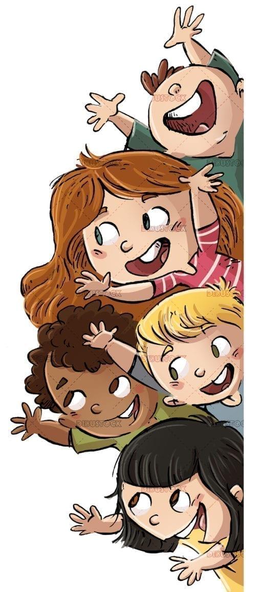 Group of happy children white background