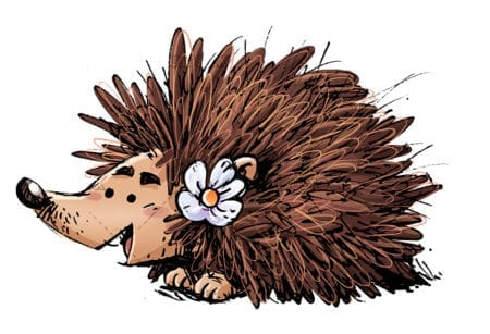 Happy hedgehog with a flower