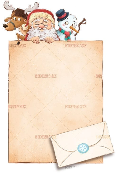 Letter and envelope for santa claus at Christmas