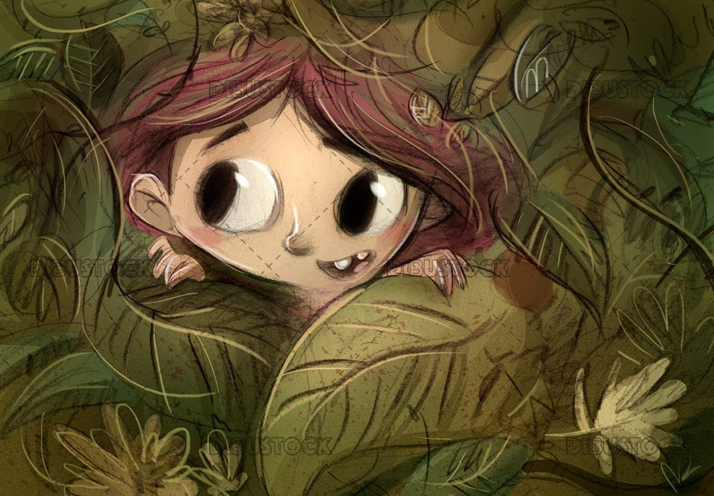 Little girl in the jungle hiding behind some leaves
