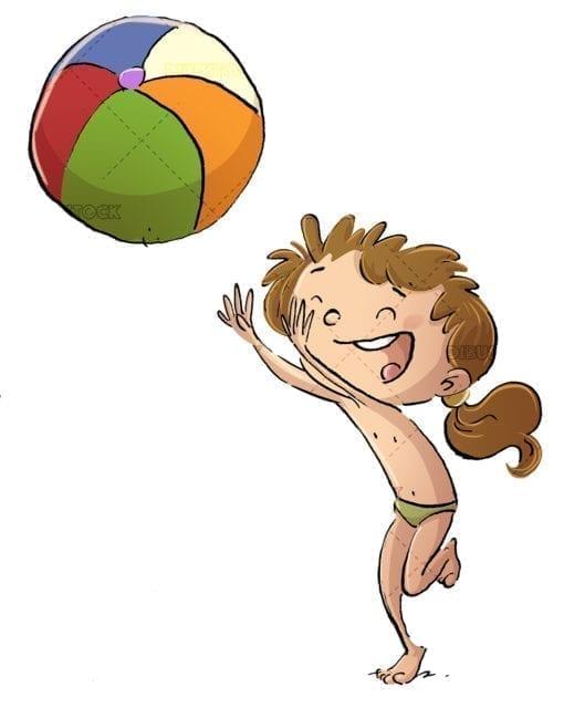 Little girl with beach ball