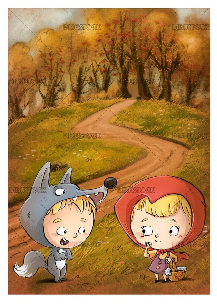 Little red riding hood and the wolf in the forest