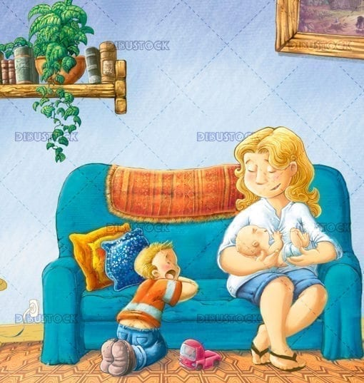 Mother with children on the couch