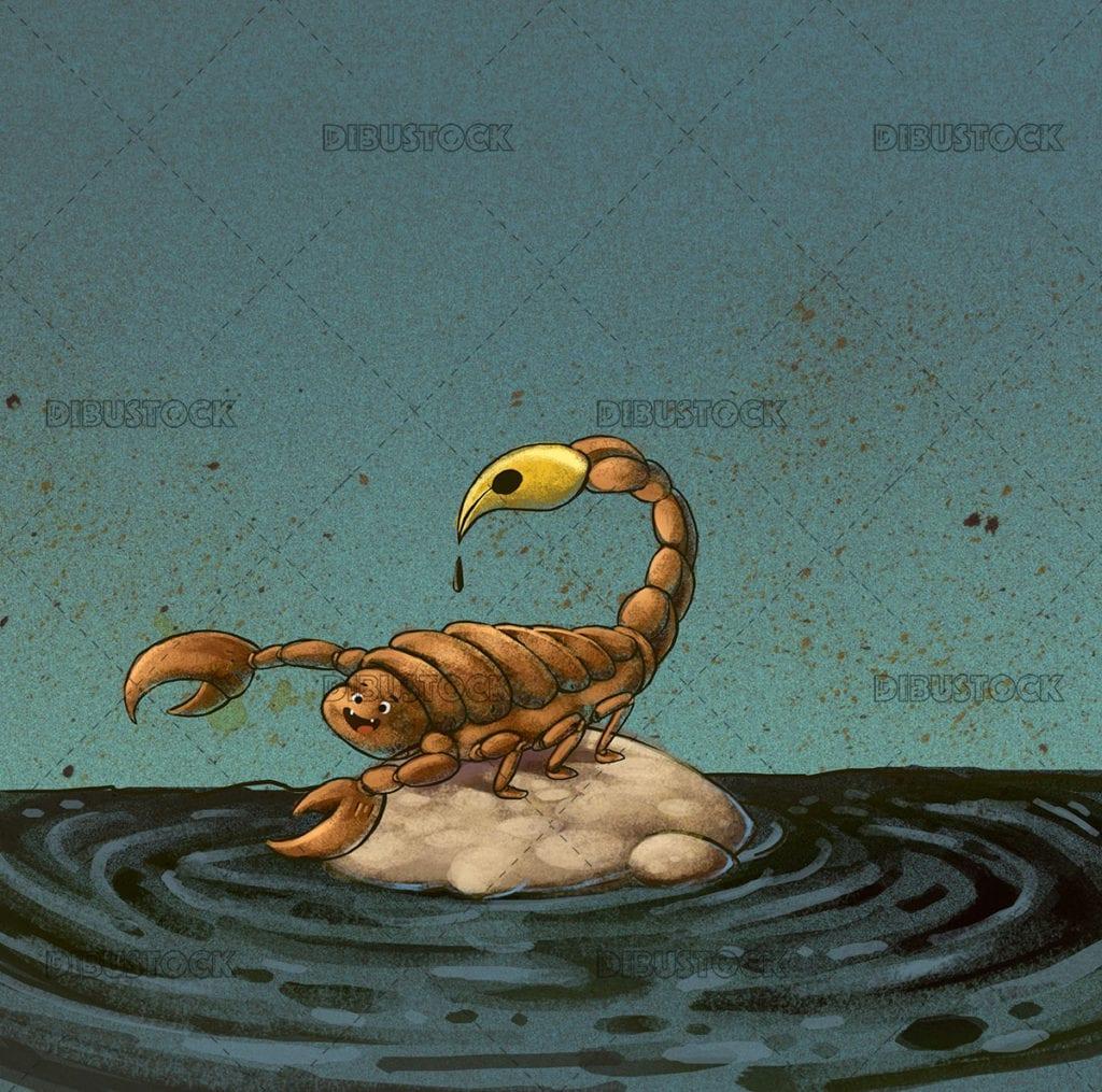 Scorpion inkwell