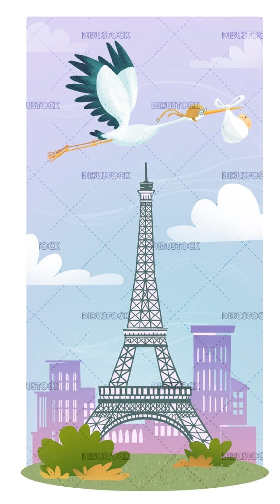 Stork of Paris with baby