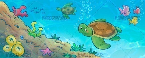 Turtle on sea floor
