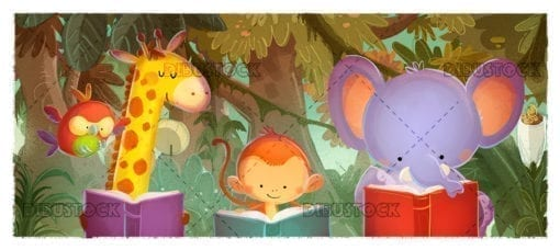 animals reading in the jungle