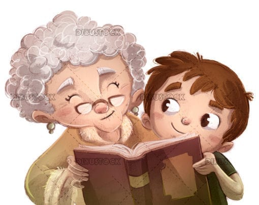 boy reading a book with grandma. white background