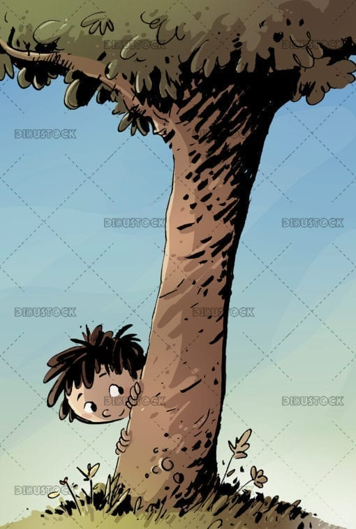 child hiding in a tree