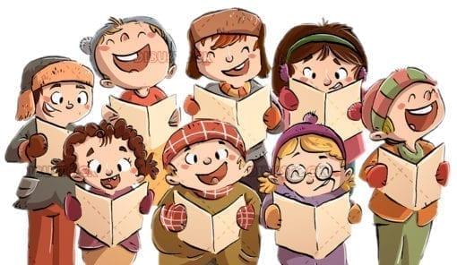 children singing in chorus at Christmas