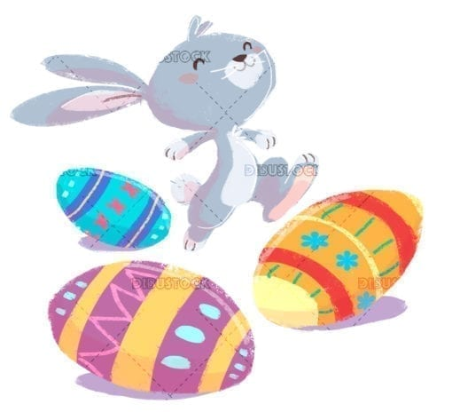 easter rabbit jumping