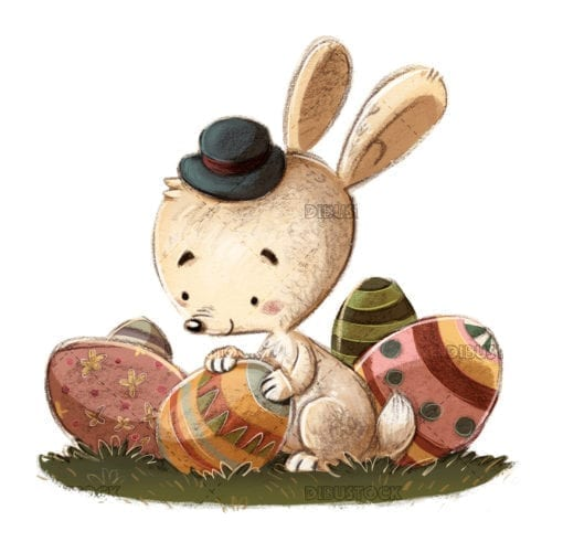 easter rabbit with eggs copia