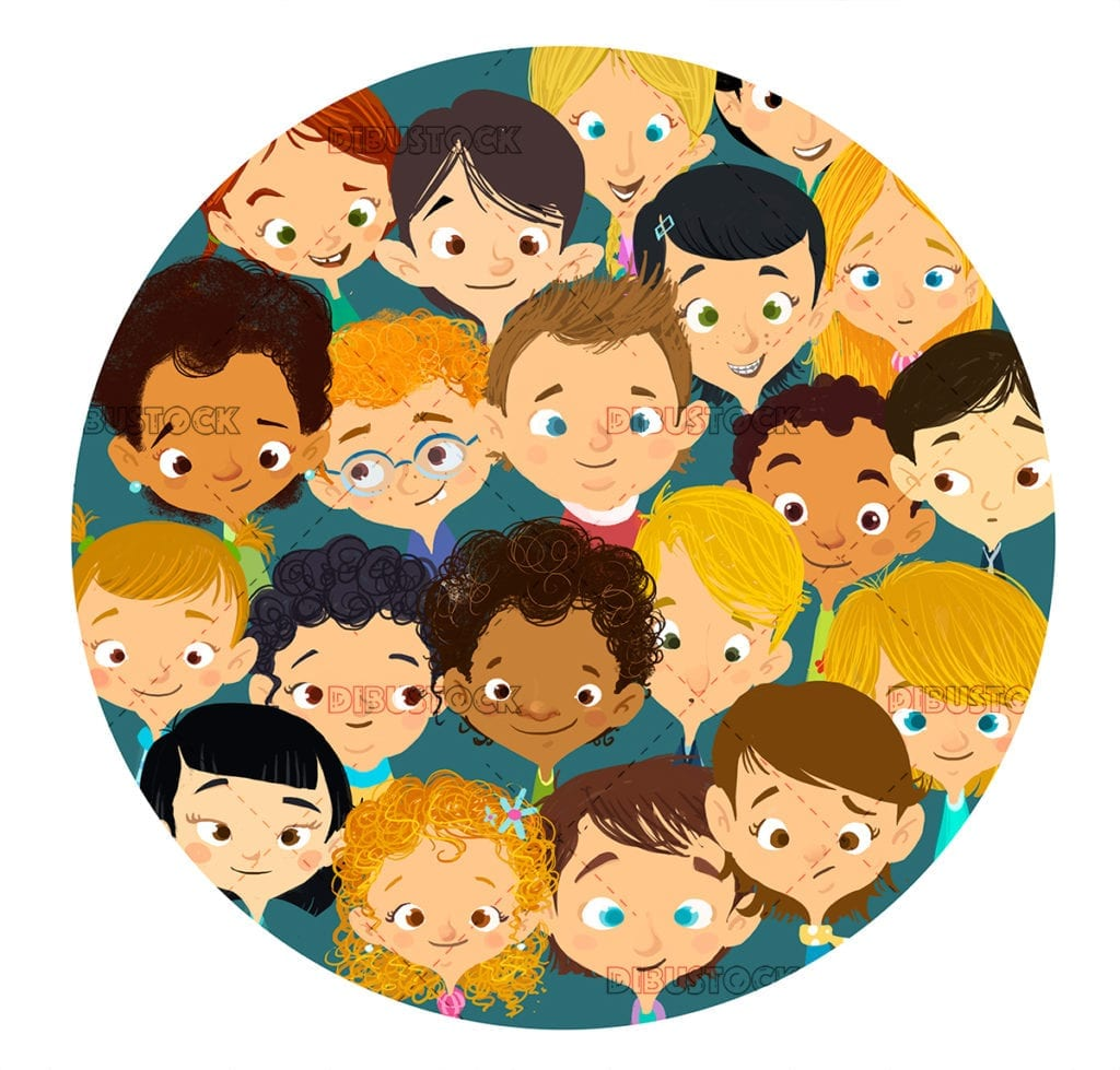 faces of smiling children in a circle