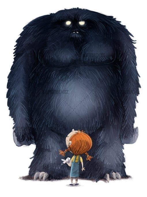 girl and giant monster
