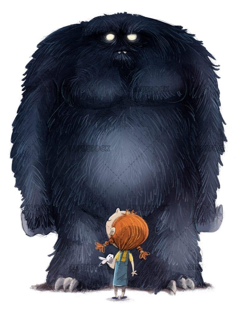 girl and giant monster