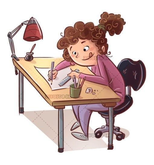 girl at table drawing