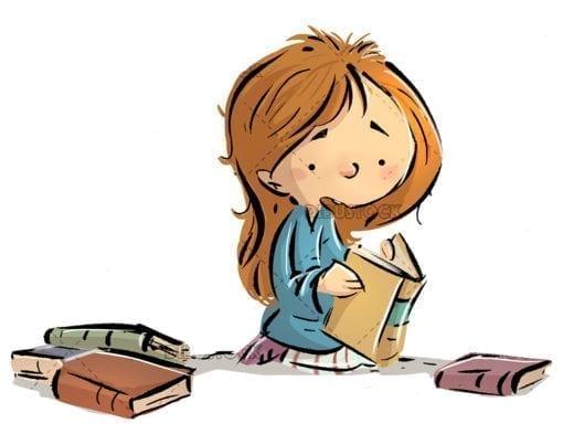 girl sitting reading