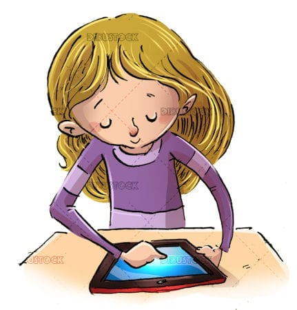 girl with a tablet