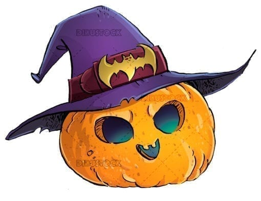 halloween pumpkin with witch hat white