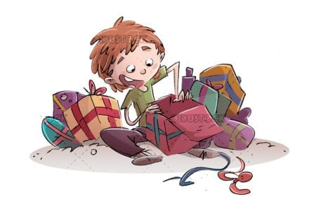 happy child opening gifts
