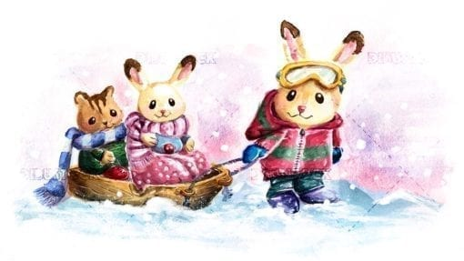Animals sledding in the snow
