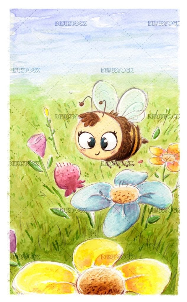 Bee in the flower field