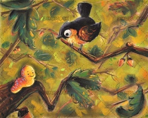 Bird and worm in the forest