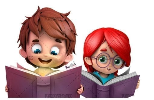 Boy and girl reading books