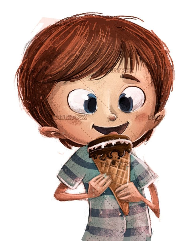 Boy eating ice cream white background