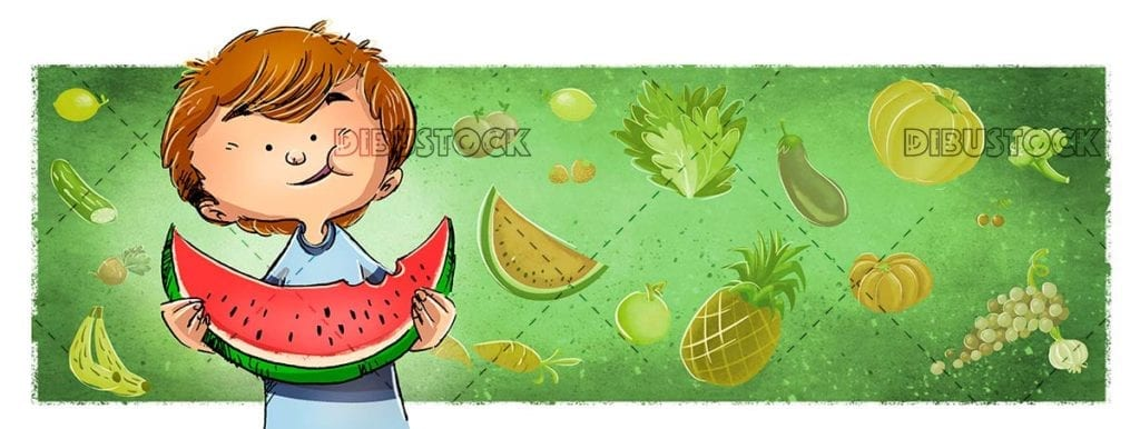 Boy eating watermelon with background