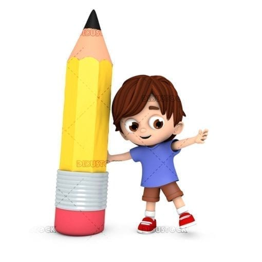Boy holding a giant pencil