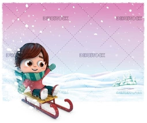 Boy in the snow with sled