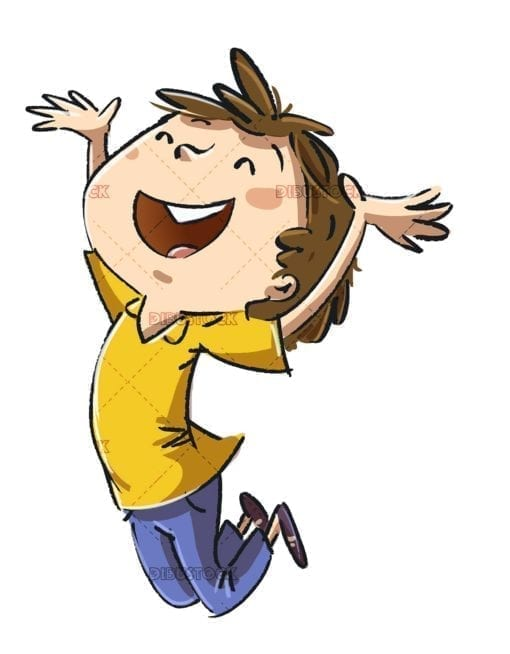 Boy jumping for joy
