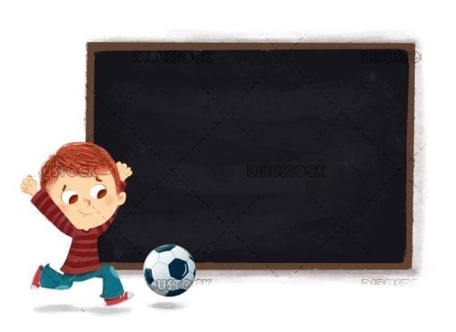 Boy playing soccer with a blackboard in the background