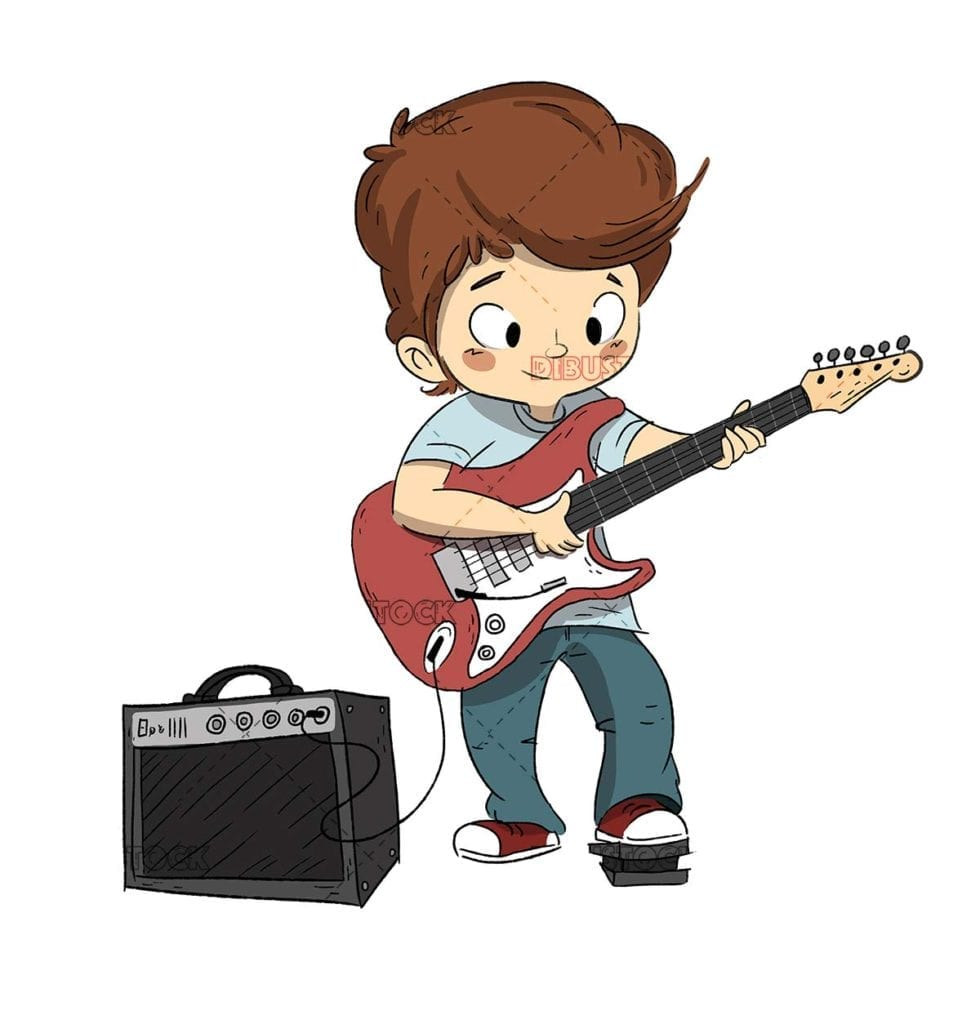 Boy playing the guitar. Guitar or music course