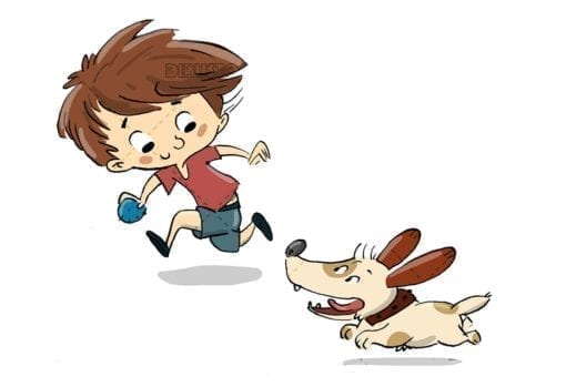 Boy playing with a dog. They run and play