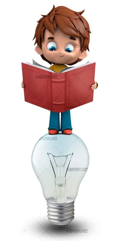 Boy reading uploaded to a light bulb