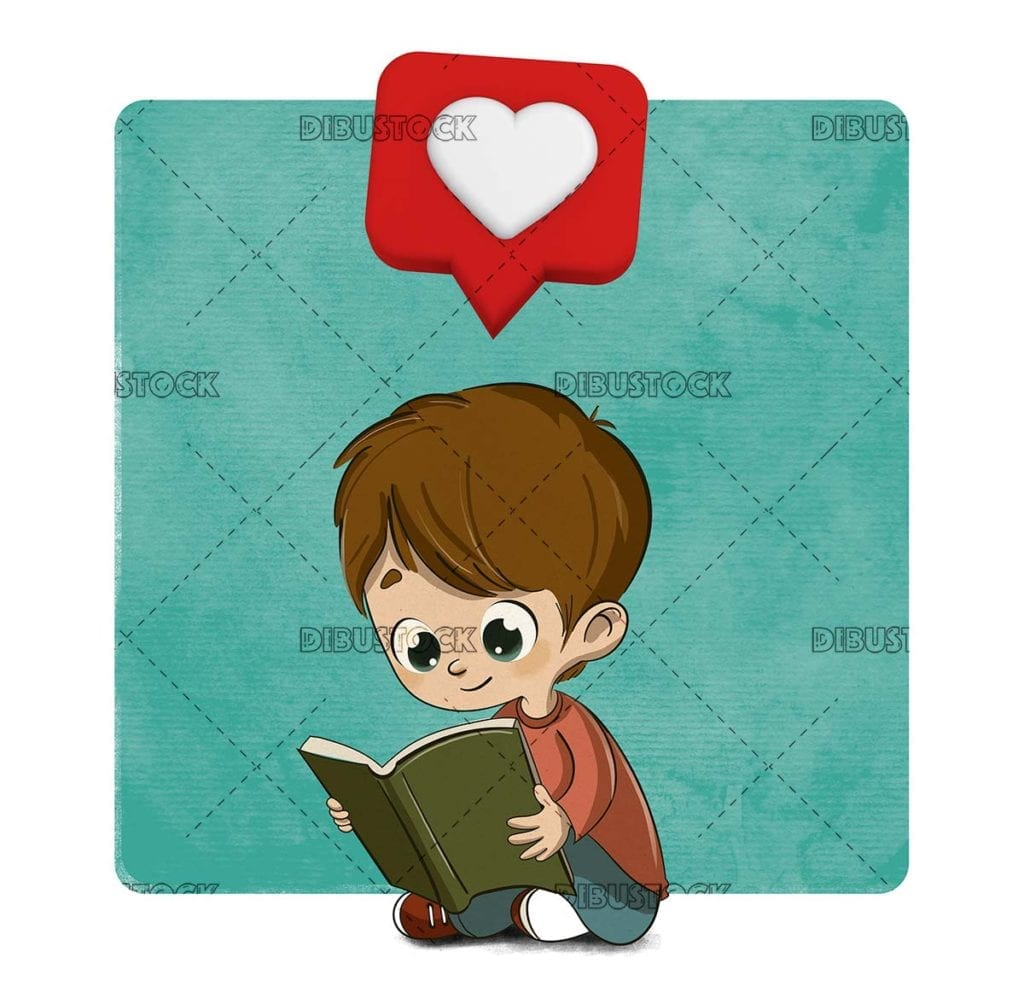 Boy reading with a heart