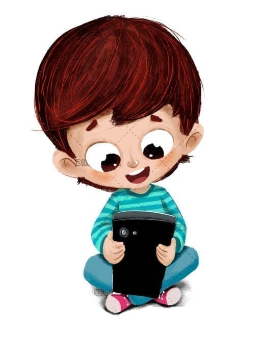 Boy with a phone or tablet playing on the floor