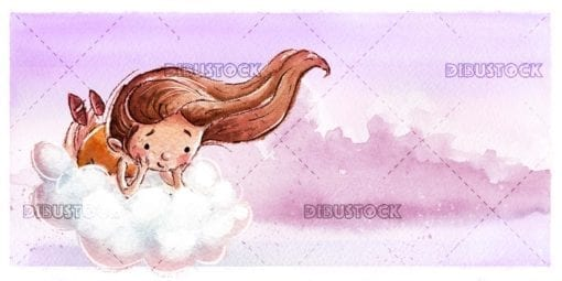 Cheerful little girl flying with cloud